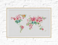 BOGO FREE World Map Cross Stitch Pattern World Map by StitchLine