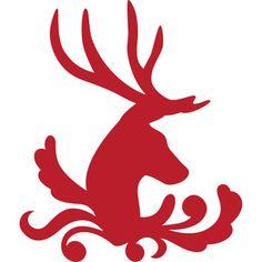 Silhouette Design Store: winter deer flourish