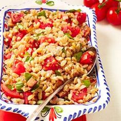 Bacon, Tomato & Farro Salad: We love farro, a high-fiber whole grain, because it cooks in about 15 minutes and has an amazing toothsome texture perfect for grain salads. In this healthy farro salad recipe we combine it with smoky bacon, sweet cherry tomatoes and fresh basil for an easy side dish or light lunch