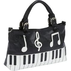 Ashley M Piano Keyboard Handbag Satchel ($25) ❤ liked on Polyvore featuring bags, handbags, black, manmade handbags, man bag, zip top bag, imitation purses, satchel style purse and satchel bag