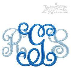 "Vine Alternative Interlocking Monogram Embroidery Fonts Size: 2"", 3"", 3.5"""