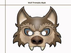 Unique Wolf Printable Mask costumes party booth props kids