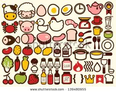 50+ Food and Drink Icon - Vector File EPS10 - stock vector