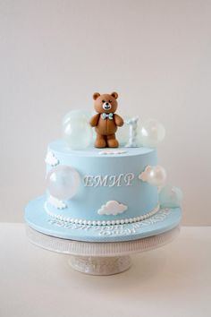 First Birthday Cake by Dimi's sweet art - Birthday Cake Blue Ideen Baby Boy Birthday Cake, 1st Birthday Cakes, Baby Boy Cakes, Baby Shower Desserts, Baby Shower Cakes, First Birthday Decorations, Hello Kitty Cake, Cute Desserts, Teddy Bear Cakes