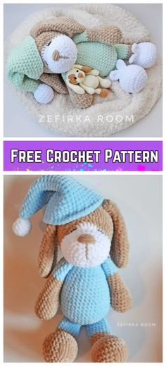 Crochet Sleeping Dog Toy Plush Amigurumi Free Pattern