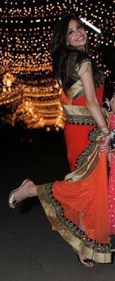 Orange saree and black border