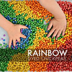 Rainbow dyed chickpeas: how to dye dried chickpeas for sensory play from And Next Comes L