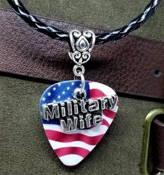 Military Wife Charm on American Flag Guitar Pick Necklace on Black Braided Cord Guitar Pick Jewelry, Guitar Pick Necklace, Military Jewelry, Homemade Carnival Games, Military Wife, Black Braids, Guitar Picks, American Flag, Beaded Jewelry