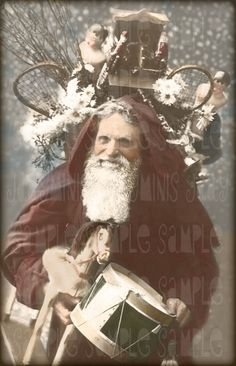 Santa with Toys Le Pere Noel French Postcard 1908 by jdayminis Vintage Christmas Cards, Christmas Images, Christmas Art, Christmas Postcards, Victorian Christmas, Vintage Holiday, Vintage Cards, Holiday Cards, Noel French