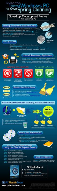 This is an infographic about ways to revive, clean and speed up Windows PC. To clean a laptop or PC, start from the exterior parts.