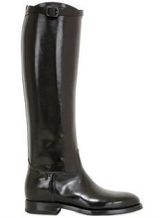 ALBERTO FASCIANI - 20MM LEATHER RIDING BOOTS - BLACK
