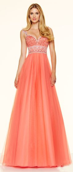 Cute A Line Sweetheart Open Back Long Coral Tulle Beaded Prom Dress With Straps