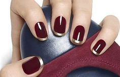 Uñas decoradas color vino tinto, uñas decoradas color vino vivo. #uñasdecoradas #nails #uñasconbrillo