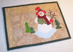 Quilted Snowman Applique Mug Rug
