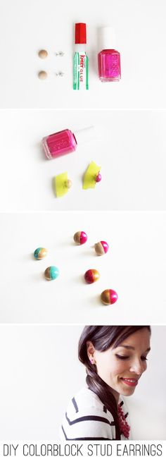 Color block earrings with nail polish