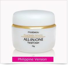 Authentic Mosbeau Placenta White All-In-One Facial Whitening Cream-Philippine Formula by Mosbeau. $49.00. The ingredients are easily absorbed by the skin, are non-sticky, effective for all skin types and act as a great make up base.. Made from the choicest ingredients to achieve the beauty benefits of skin whitening, anti-aging, moisturizing and UV protection.. The All-in-One Facial Cream boasts of a 70g content compared to the usual 50g creams in the market, which mea...