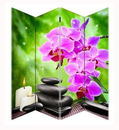 Kamerscherm met Orchidee, Hotstones en Kaarsen afbeelding. In het scherm zijn maar liefst 20 led lampjes verwerkt. #ledlights