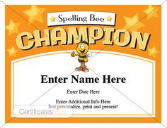 Spelling Bee Certificate. Recognize the champion with this stylish award certificate. Personalize, print and present.  School award, teacher gift, student award, template, digital download, printables