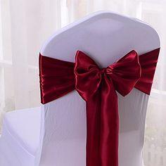 Wedding Chairs   50PCS 17X275CM Satin Chair Bow Sash Wedding Reception Banquet Decoration