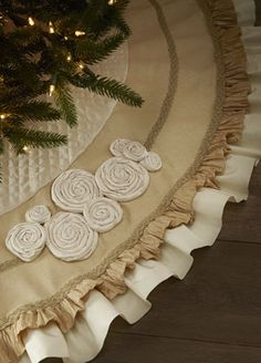 burlap and muslin ruffle and rosette Christmas tree skirt