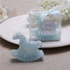 playful rocking horse candle favors baby shower gift candle new born christening favor candles set of 12 pieces pink blue US $18.85