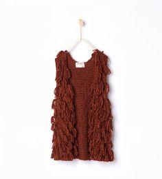 Image 1 of Fringed knit waistcoat from Zara