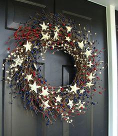 Fourth of July Wreath, Americana Wreath, Patriotic Door Wreath, Country Wreath, Rustic Wreath Stars and Stripes Patriotic Wreath, Patriotic Crafts, July Crafts, Wreath Crafts, Diy Wreath, Door Wreaths, Wreath Making, Burlap Wreath, July 4th Holiday