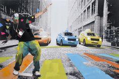 Trendykunst presenteert dit prachtige schilderij van een skateboarder.  Een canvas schilderij met de hand geschilderd.