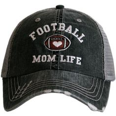 c870e78d5 Football Mom Life distressed trucker cap with embroidery