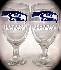 Sports Logo Glasses - Wine glass and beer mug available - set of 2 - Seahawks