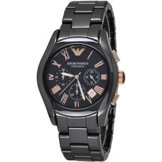 Emporio Armani AR1410 Men's Ceramic Watch. A new interpretation of a classic. Our timeless chronograph watch in gleaming black ceramic and rose gold tone details features Roman numeral hour markers and a black dial. It's a modernly sophisticated style by Emporio Armani. Brand, Seller, or Collection Name Emporio Armani Model number AR1410 Part Number AR1410 Model Year 2011 Item Shape Round Dial window material type Anti reflective sapphire Display Type Analog Clasp Deployment clasp with...