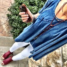 IG @mrscasual <click through to shop this outfit> Anthropologie Swing Tee. TOMS majorca bootie. BP choker