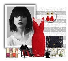 """""""red dress"""" by sabypolivore ❤ liked on Polyvore featuring ML Monique Lhuillier, Christian Louboutin, Chanel and Dolce&Gabbana"""