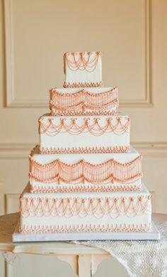 Elegant White & Coral Tiered Wedding Cake