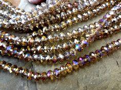 Crystal Rhondelles, 6x4mm, Smokey Quartz AB, 8 Inch Strands, 49 Beads per Strand, Priced per Strand by DragonflyBeadsStudio on Etsy