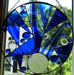 The Blues Stained Glass Art Panel by miloglass on Etsy, $75.00