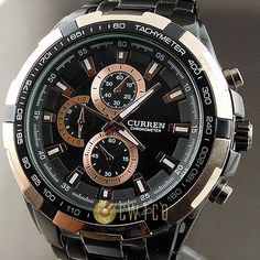 DHL free shipping,Exquisite Curren Stainless steel Man's Leisure Black Wrist Watch 8023 (Black)  50pcs/lot