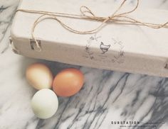Egg Carton Stamp - Backyard Eggs - Egg Stamp - Hand Drawn Wreath Design by Substation Paperie
