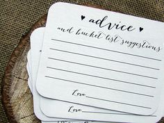 Bucket List Suggestion Cards Wedding Advice for the Bride and