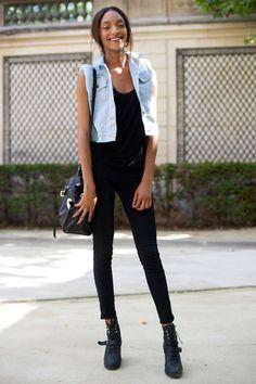 denim vest and black