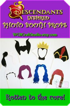 Disney Descendants Inspired Photo Booth Props | Maleficent | Jafar | Cruella De…