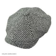 Wigens Elof Herringbone Newsboy Cap (Dark Grey)