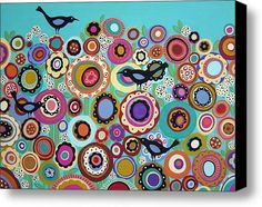 Birds And Blooms Stretched Canvas Print / Canvas Art By Karla Gerard