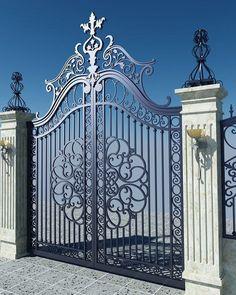 Wrought Iron Driveway Gates, Wrought Iron Garden Gates, Metal Gates, Wrought Iron Doors, Front Gates, Entrance Gates, Fence Gate Design, Front Gate Design, Main Gate Design