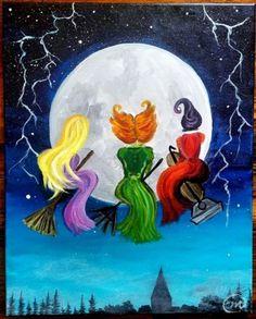 Halloween Canvas Paintings, Canvas Painting Projects, Fall Canvas Painting, Witch Painting, Cute Canvas Paintings, Halloween Painting, Autumn Painting, Diy Canvas Art, Halloween Art