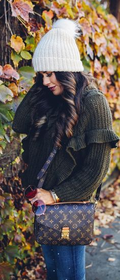 fall fashion 2017, cute fall outfits thanksgiving dinner, chunky turtleneck sweater fall 2017, cute tumblr pinterest fall outfits, outfits with sweaters and beanies, express november 2017 sweaters, embellished jeans pearls, louis vuitton pochette metis, emily ann gemma, the sweetest thing blog