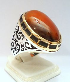 925 Sterling Silver Men's Ring with Amazing Coloured Agate Carnelian Aqeeq
