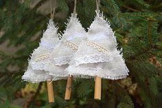 Christmas tree ornament Rustic Christmas decor Fabric Ornaments Burlap Lace tree stocking stuffer Christmas party favors Christmas tree decoration SET of 3