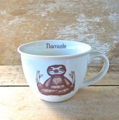 Mug, Namaste Baby Sloths, Tea cup style Sloth Meditation Teacup, 14 oz Coffee Mug, Recycled, Porcelain,  Ready to Ship