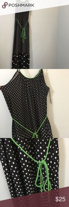 Maxi sundress Lovely black white polka dot maxi sundress with Kelly green piping on neck belt tie . Great condition I think I bought it at Coldwater Creek. Dresses Maxi